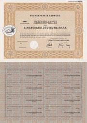 Zuckerfabrik Bedburg 1.000 DM Muster und Rückseite vom 04.02.1975