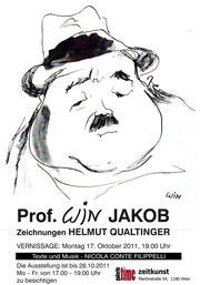 galerie time Vernissage Prof. Win Jakob Zeichnungen Helmut Qualtnger, Montag 17. Oktober 2011. Texte und Musik Nicola Conte Filippelli