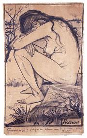 シーンを描いた「悲しみ」(1882年)