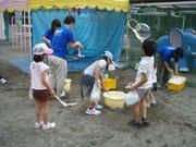 保育園でのしゃぼん玉遊び