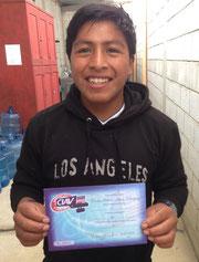 carlos with his English diploma