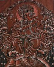 pintura com símbolo do OM, em sanscrito