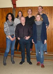 Ein Teil der neuen Vorstandschaft. Hinten v. l.: Petra Munz, Marion Renz, Marco Berg, vorne v. l.: Beate Zenger, Bernd Rohleder, Sandra Breunig
