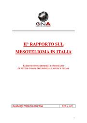 Secondo rapporto sul mesotelioma in Italia