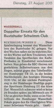 Wasserball: Doppelter Einsatz für Buxtehuder Schwimm-Club. Hamburger Abendblatt vom 27.08.2013