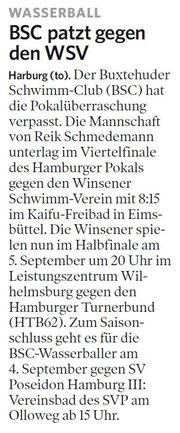 BSC patzt gegen WSV. Harburger Anzeiger und Nachrichten vom 30.08.2013