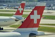 Swiss-Leitwerke in ZRH © Andreas Unterberg