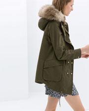 Khaki fur trimmed parka Zara