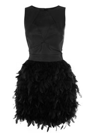 Warehouse leather and feather dress