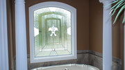 Bathroom Stained Glass Window for Privacy with Fluer de Lis