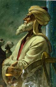 Peinture contemporaine représentant al-Kaschi, Musée de l'Observatoire de Samarcande (M. Schvoerer, 2008)
