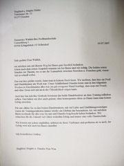 Brief Hundeschule Tierpension Katzenpension Dresden, Großenhain, Ortrand, Bernsdorf