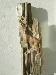 Steinbock schnitzerei paul widmer bildhauer