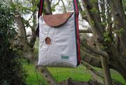 Umhängetasche, Recyclingtasche, Airbag, Silbertasche, sportlich