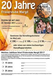 Flyer 20 Jahre Frisierstube Margit