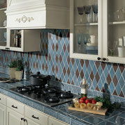 Blue and brown ceramic backsplash