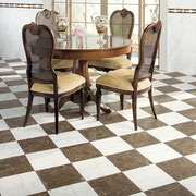 Brown and white checkerboard pattern floor