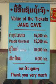 Eintrittspreise Tham Jang Höhle