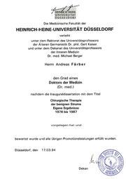 Dissertation  Dr. med. Färber   Chirurgische Therapie der benigenen Struma    Eigene Ergebnisse   1976  bis 1987   Heinrich-Heine-Universität Düsseldorf