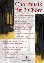 Konzertplakat Chormusik für zwei Chöre