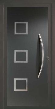 Puerta de entrada de aluminio y acero inoxidable