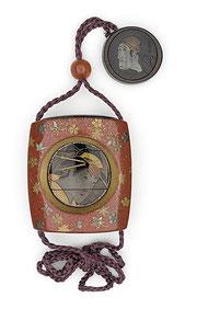 Inro de la escuela Kajikawa, S.XIX. Representación de actores con esxcelente trabajo de materiales de lujo.