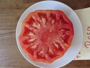 Tomate Rosa,flachrunde,hellrote Früchte. Bild Bio Gärtnerei Kirnstötter