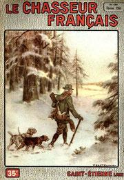 Couverture Chasseur Français : un chasseur avec deux chiens en forêt