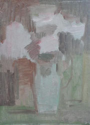 ピンクの菊 4号    油彩の下塗り