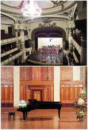 上:フランス植民地時代に建設されたオペラハウス(ハノイ) 下:ベトナム国立音楽院小ホール(ハノイ)