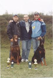 Gianluca Zoccali e Cabir, Adriano, ed io con Bess in Austria.
