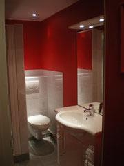 douche italienne, lavabo et wc
