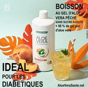 Le gel d'aloe vera Pêche 99 % d'aloe vera. Idéal pour les diabétiques.