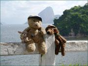Kasimir, Cäsar und Fredi for dem Zuckerhut in Rio de Janeiro