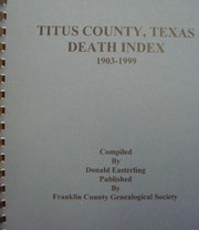 Cover of Titus County, Texas, Death Index, 1903-1999