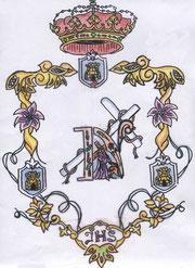 Escudo plata relieve corneta trompeta