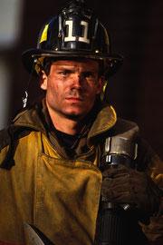 Fire fighter in uniform
