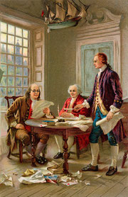 Our forefathers around a table discussing new laws for a new world