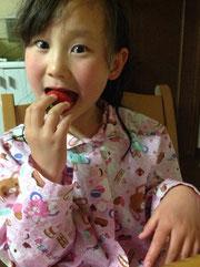 苺大好きのお孫さん。可愛いです。