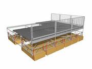 esempio di piattaforma galleggiante composta da moduli Litefloat e ponteggio multidirezionale
