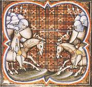 Mittelalterliche Schlacht (Grandes Chroniques de France, 14. Jh.)