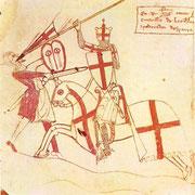 "Ramón Berenger I. in der Montur eines St. Georg-Ritters (""Aparador d´Espanya"") - aus: Handschrift der Usatges 14. Jh."