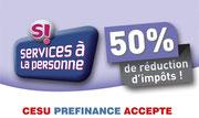 service à la personne 50%  de reduction d'impot ou credit d'impot .