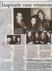 Artikel Telegraaf Inspiratie voor vrouwenclub Ladies Event van de Industrieele Groote Club (IGC) Amsterdam