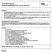HZB: Themen der Direktoriumssitzung E 6/11, 20.6.2011