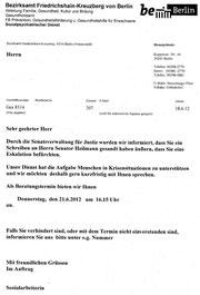 Schreiben des sozialpsychiatrischen Dienstes des Bezirksamts Friedrichshain-Kreuzberg vom 18.6.2012