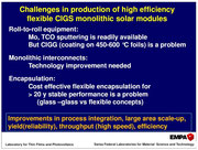 Challenges in production of high efficiency flexible CIGS monolithic solar modules