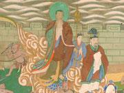 Zu den Restaurierungsarbeiten an diesem koreanischen Tempelbild gehörte u.a. die Festigung der Malschicht