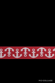 Band 56,Anker weiß/rot, Design Lila-Lotta Design 15mm