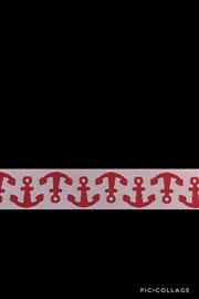 Band 55,Anker rot/weiß, Design Lila-Lotta Design 15mm